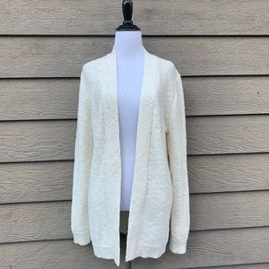 J Crew Cream Long Knit Linen Cotton Blend Sweater